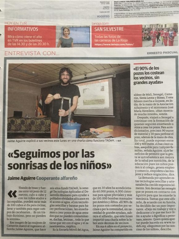 Diario de La Rioja, Contraportada